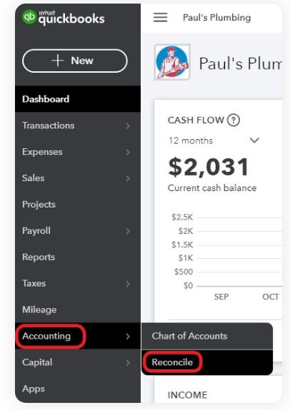 1. Open Quickbooks Online and Navigate to The Option Quickbooks Bank Reconciliation
