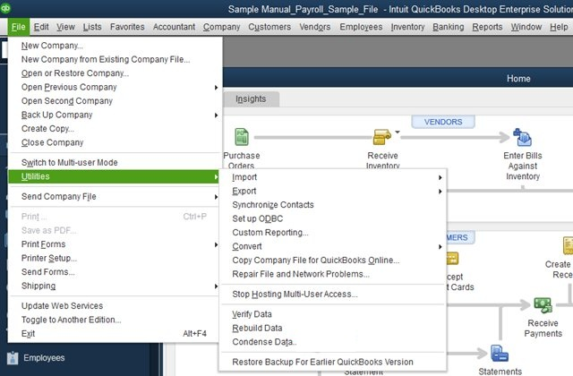 Built-in version: Quickbooks file repair