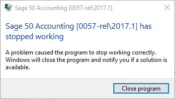 Sage 50 Not Responding Message Appears