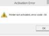 Sage 50 Printer not Activated Error Code 30
